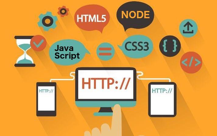 Illustration displaying numerous symbols and web design tools/languages.